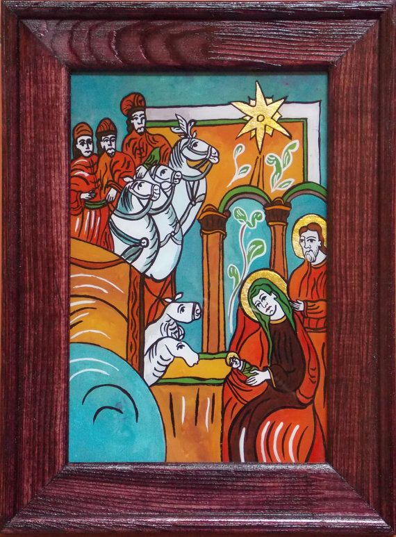 Romanian Traditional Icon Painted on Glass with Hand Painted Wooden Frame - The birth of Jesus Christ - Reverse Painting on Glass