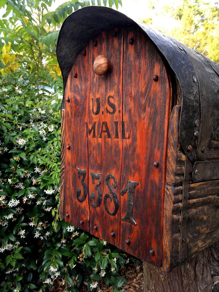 Special order. Jumbo size mailbox with cedar door. Metal forging for all of metal details. Special made dark natural rustic woodfinish. Everything made from new wood, metal, and natural beeswax based woodfinish