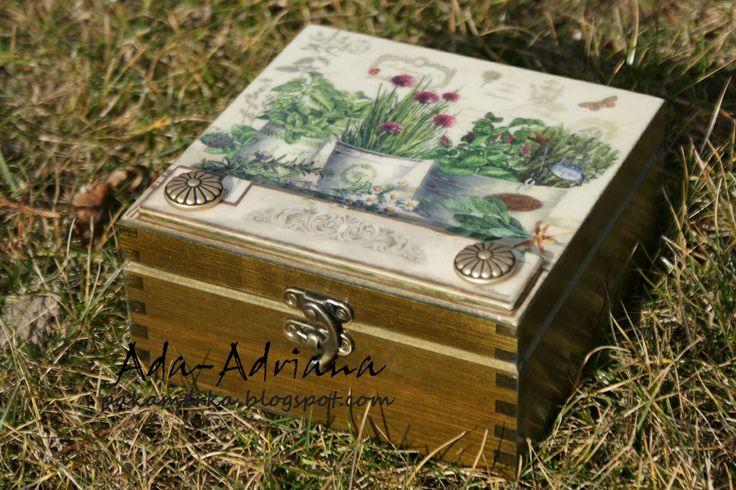 decoupage, pudełko na herbatę, Box für Tee, box for tea, kuchnia,