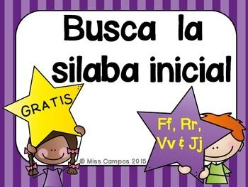 GRATIS - SILABAS INICIALES - LETRA J, LETRA R, LETRA V, LETRA F, Spanish Beginning Sounds, beginning syllables,