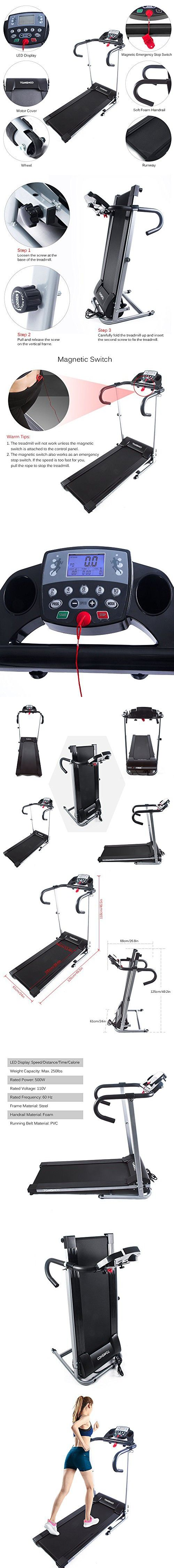 TOMSHOO 500W Folding Motorized Treadmill Electric Running Jogging Machine Home Gym Workout Fitness Machine