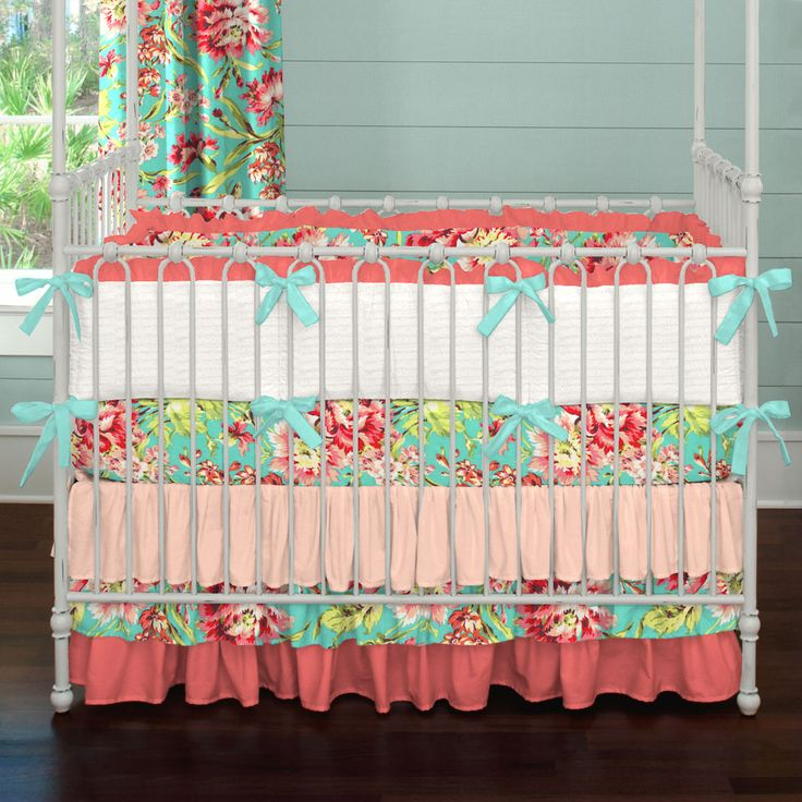Coral and Teal Floral Crib Bedding | Carousel Designs.  Love these graduating shades of peach and coral in this fabulous ombre crib skirt. Add the incredible Coral and Teal Floral pattern and you have a collection fit for a princess.