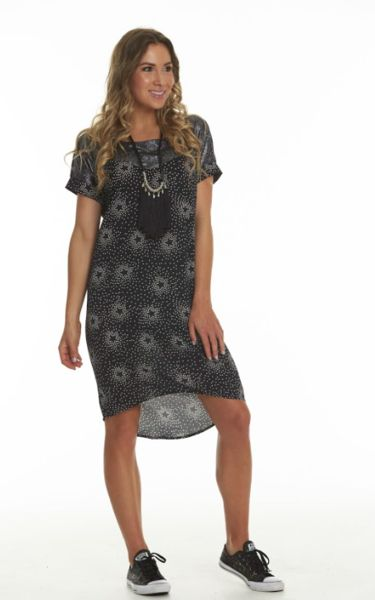Charlo Lorelee Dress Black woven star print with shiny black wetlook fabric at the top yoke.  Standard Fit.