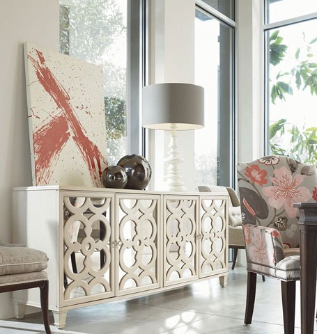 I love the mirrored sideboard