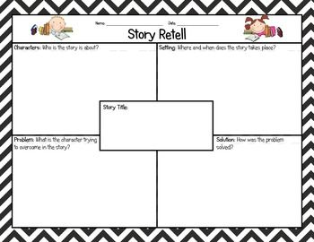 This is a simple graphic organizer to help students retell a story they've listened to, partner or buddy read, or read independently. This can be use in whole group, small group, or in a literacy center. My students have to complete this before taking an accelerated reader (AR) test.
