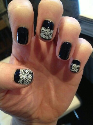 Navy and white lace vinylux
