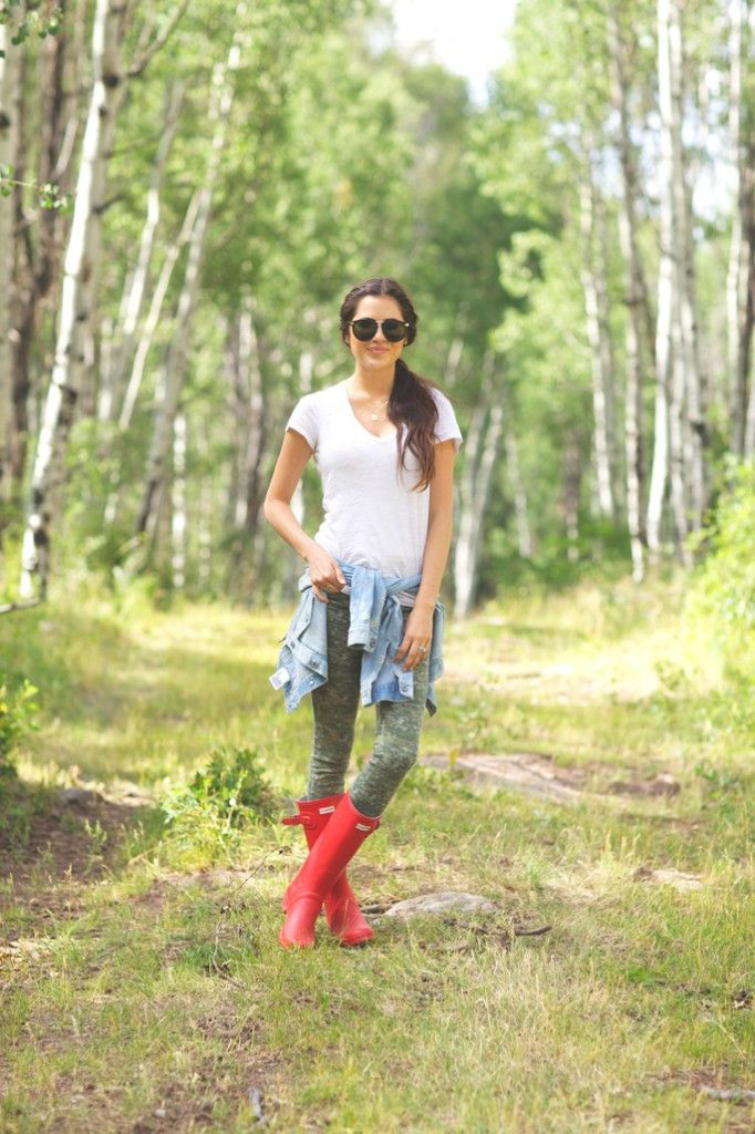Rach Parcell of Pink Peonies wearing our Original Tall in red