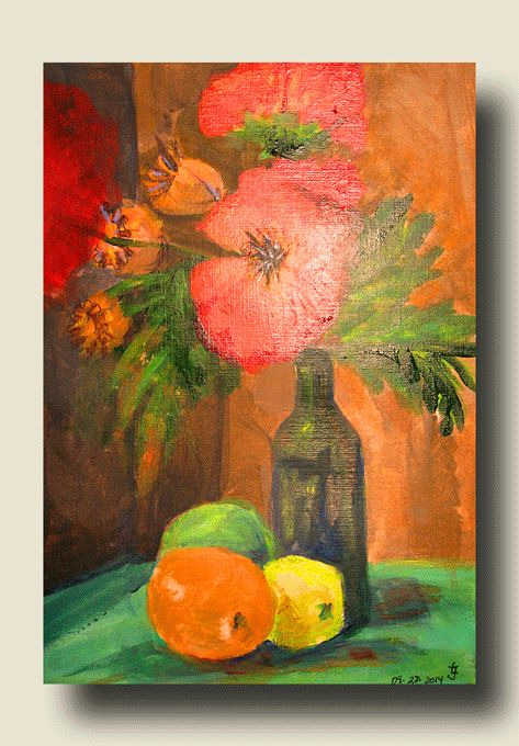 """""""Still Life with fruits""""acrylics on canvas original by Joanna Lazuchiewicz 2014"""