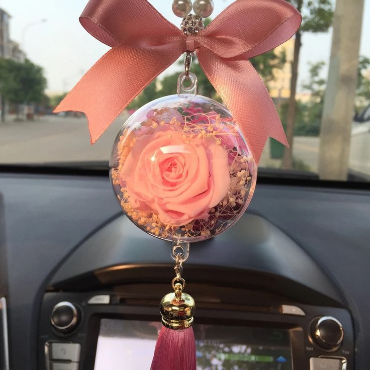 Hanging Car Charm Ornaments-Perserved fresh Pink flower in Glass Mirror Pendant