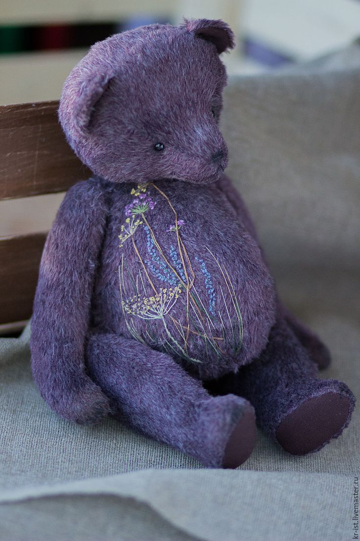 Teddy bear / Купить Мишка тедди Грег - бордовый, фиолетовый, серый, коричневый, кантри, рустик, мешковина, мишка