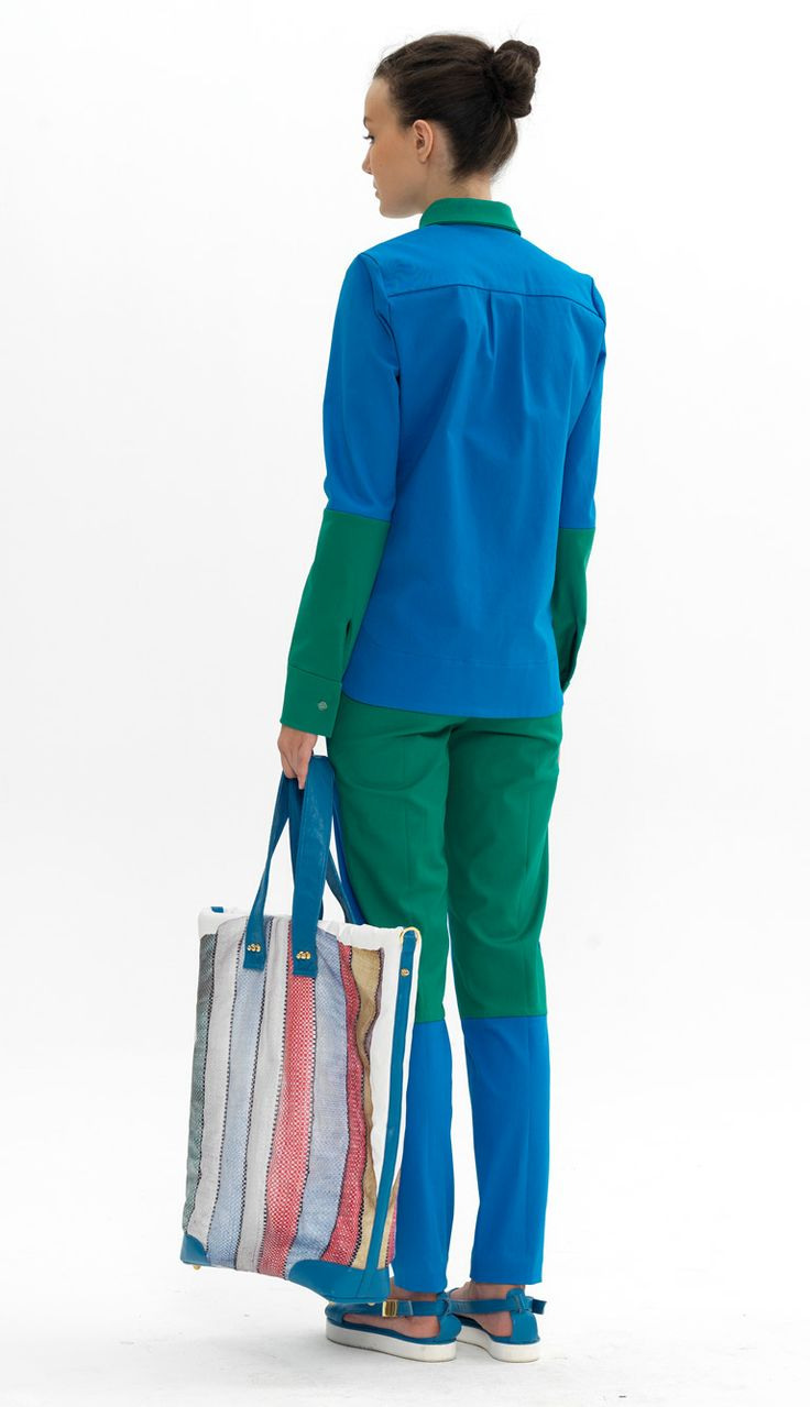 contrast shirt contrast trousers printed shopping bag
