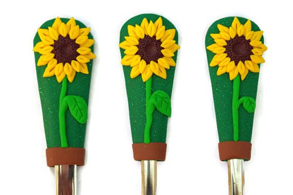Chrildren Cutlery set for girls with SUNFLOWER by Velwoo on Etsy