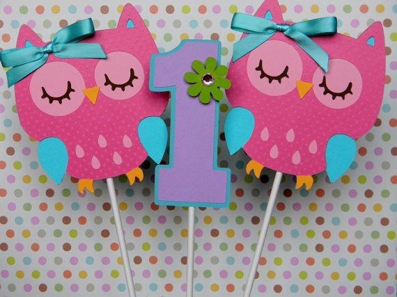 6 Colorful Owl Birthday Party  Centerpiece by sweetheartpartyshop, $12.00