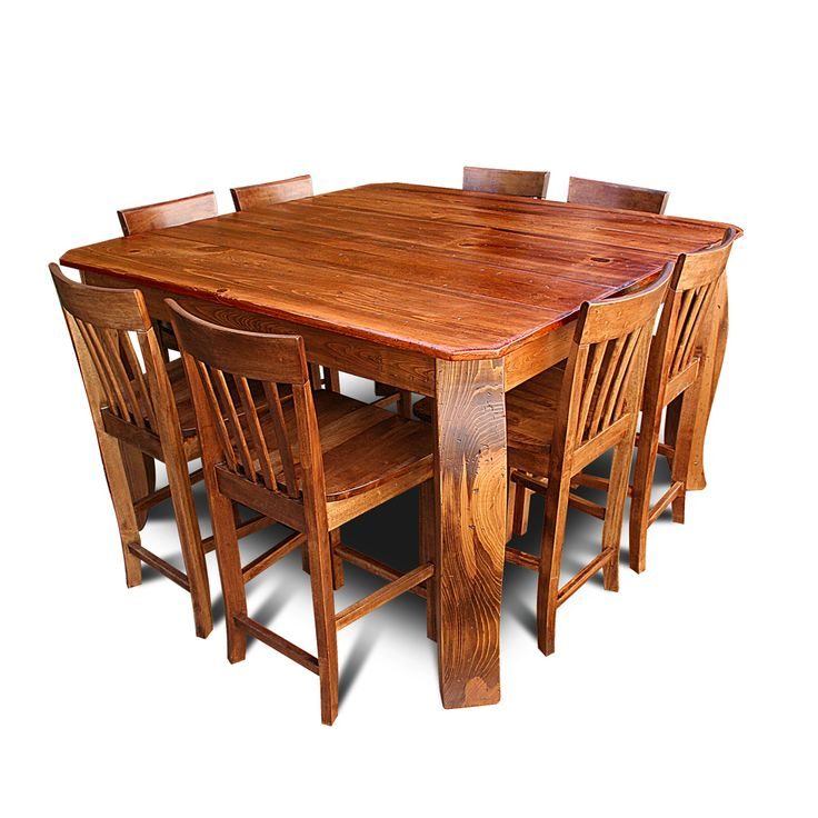 """Crawfish Leg Table. (Premium Leg) Shown here in Fruitwood. For More Colors Please see our Signature Colors.  Shown here in 36"""" Pub Height. Available in Standard Height. Please call or email for additional pricing  Shown with optional Slatback Stools. (Chairs Sold Separately)     Crawfish Leg Table     Size Retail Sale   36"""" x 5' $3442 $2049   40"""" x 5' $3688 $2195   40"""" x 6' $4024 $2395   40"""" x 7' $4192 $2695   40"""" x 8' $4864 $2895   48"""" x..."""