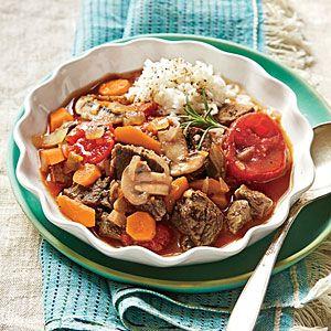 Rosemary Lamb Stew | MyRecipes.com - Use as Leftover  from Herb Roasted Boneless Leg of Lamb