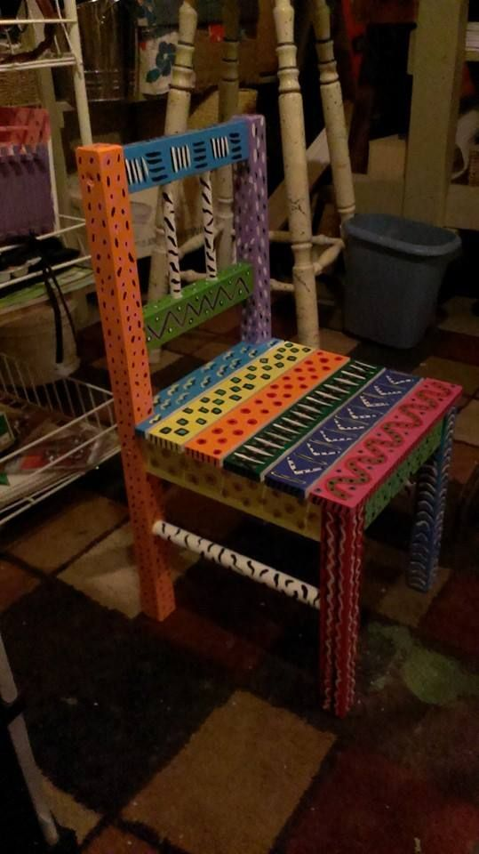 2 child size solid wood hand painted chairs, $40 for the pair