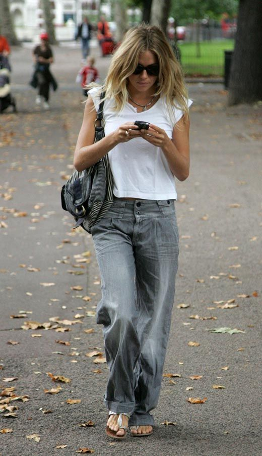 Casual balloon denim and white tee