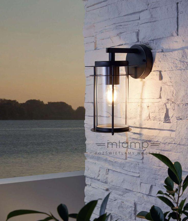 Zewnętrzna LAMPA elewacyjna VALDEO 96239 Eglo ścienna OPRAWA ogrodowy KINKIET latarenka outdoor IP44 czarna przezroczysta