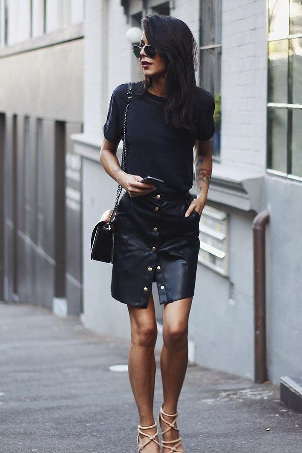 all black with high waisted leather black skirt outfit