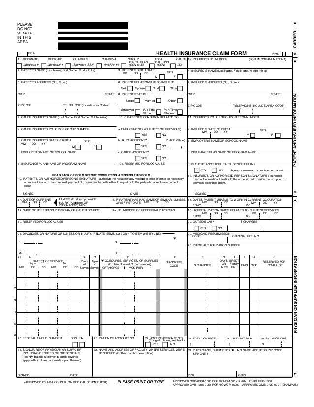 1500 Claim Form Template Health Insurance Claim Form Cms1500 Hosa