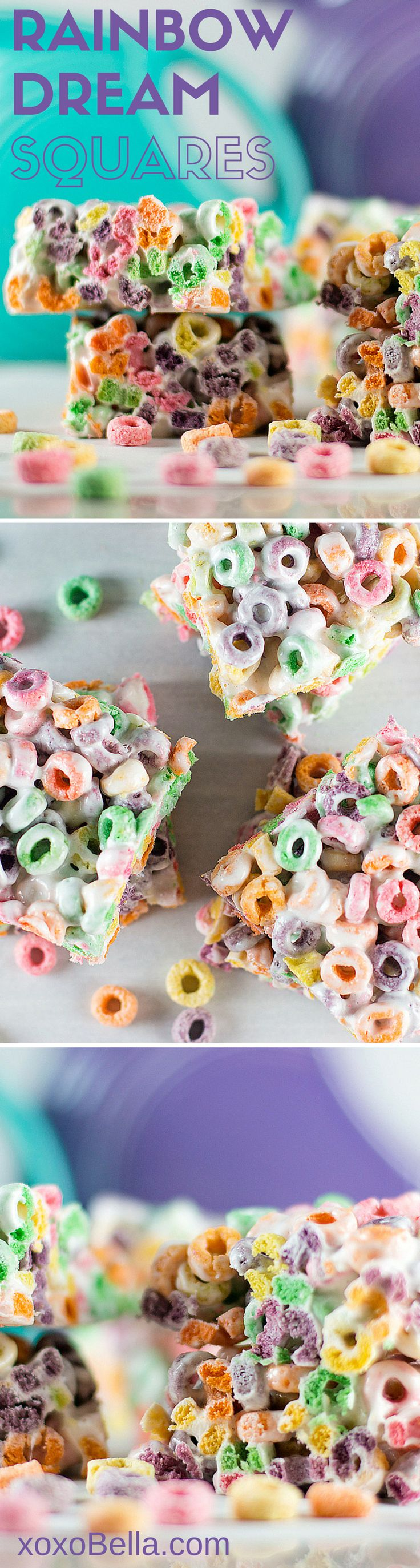 Rainbow Dream Squares made with Fruit Loops! xoxoBella.com  Fruit loops, marshmallow, rice crispy square, sweets, treats, recipe, easy recipe, sweet treat, taste the rainbow, unicorn treat