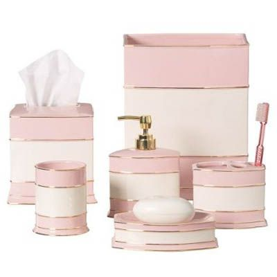 17 best images about bath accessories on pinterest art for Pink bathroom accessories sets