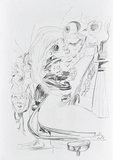 Sneak peek_02 Wolfgang Neumann, 2014 Bleistift auf Papier / Pencil on paper, 35 x 25 cm In: Aras Ören, Kopfstand, Seite / Page 82
