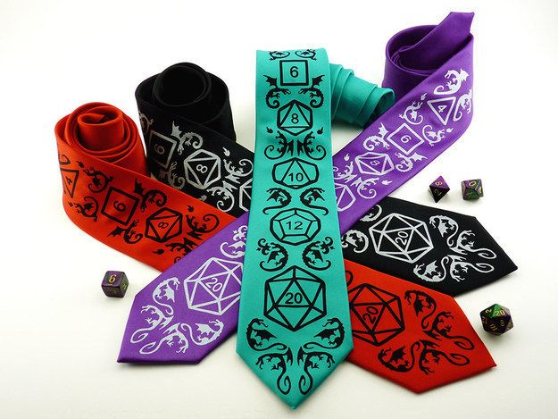 Try these Dungeons and Dragons inspired ties for roleplaying game addicts.