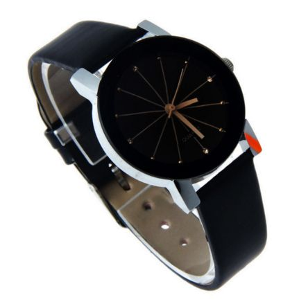 Elegant black watch with brown star in the middle of the case. It includes a glittering decoration at every hour.
