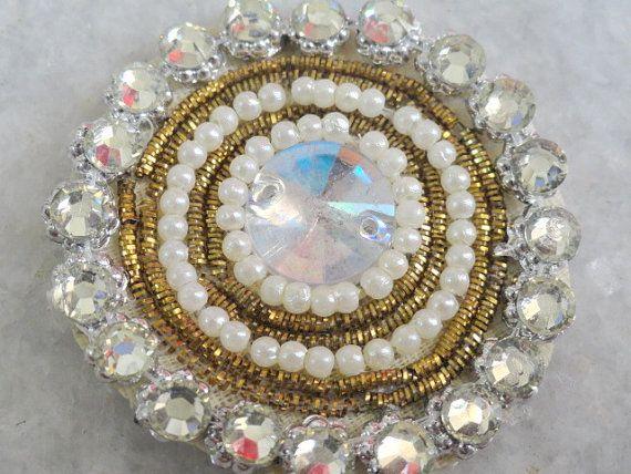 Perla de oro nupcial India abalorios apliques por trendytrimsnlaces
