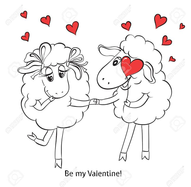 Пара в любви мультфильм Две милые очарован овец с красными сердцами на качелях идея для открытки с Днем свадьбы или день Святого Валентина Векторные иллюстрации каракули Клипарты, векторы, и Набор Иллюстраций Без Оплаты Отчислений. Image 30684496.