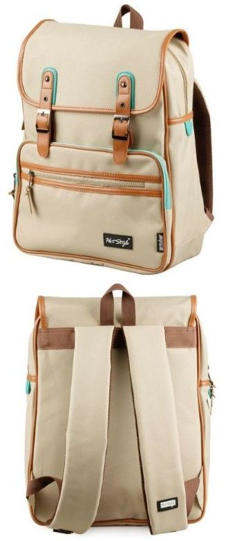 kmbuy - Unique vintage Korean style Unisex Casual Fashion School Travel Backpack Bags with Laptop Lining - nice green trim on this khaki and leather backpack - nice for both women and men