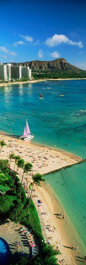 Diamond Head, Waikiki Beach, Oahu, Honolulu, Hawaii, USA