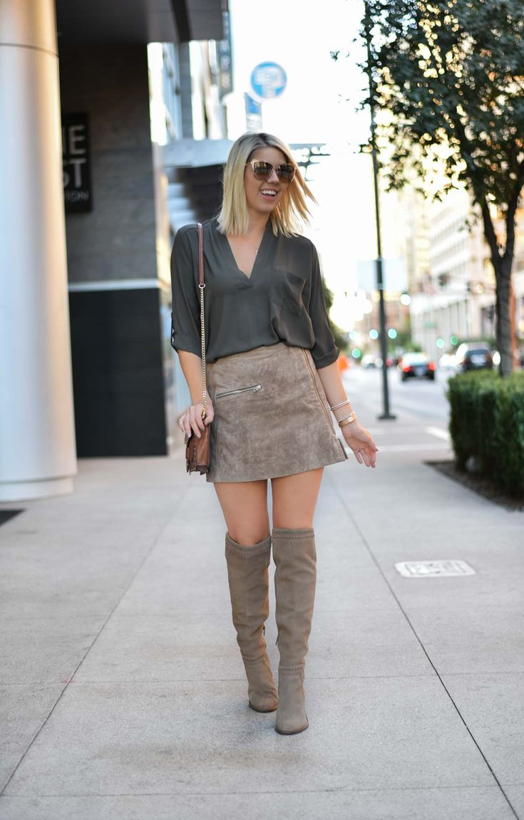 Erin Elizabeth of Wink and a Twirl in a suede miniskirt