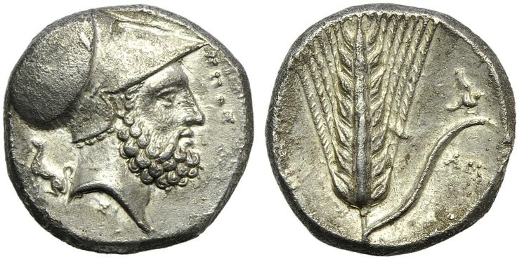 ucania, Metapontion, Stater, c. 340-330 BC; AR (g 7,63; mm 20; h 2); [ΛEYK]IΠΠΟΣ, head of Leucippus r., wearing Corinthian helmet; on l., seated dog. Rev. [META], barley ear; upon leaf r., bird with open wings; below, AMI. HNItaly 1576. Lightly toned, minor porosity, good very fine - about extremely fine.