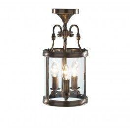 Lambeth Lantern Circular Hall Dual Mount Antique Brass - LAM0375