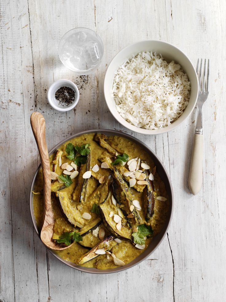 Aubergine and coconut curry: A simple curry made with fresh spices and ready in just 30 minutes, and low-calorie too, ideal for a midweek, late-summer meal.
