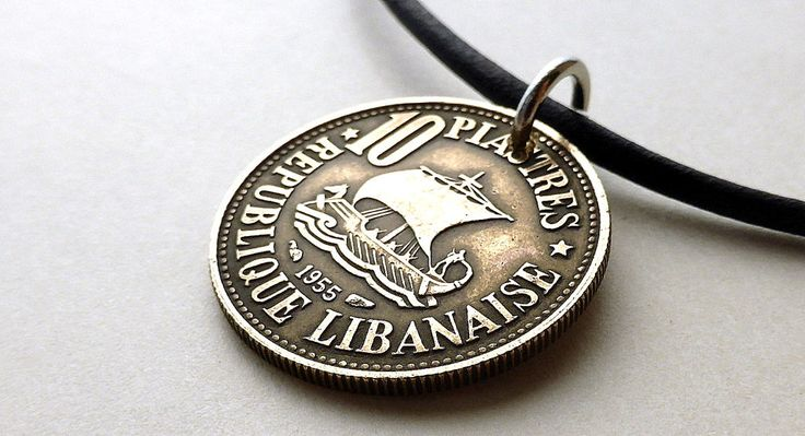 Coin necklace, Lebanese, Ship necklace, Mens necklace, Coin jewelry, Mens gift, Gift for him, Nautical necklace, Middle Eastern, Ships, 1955 by CoinStories on Etsy