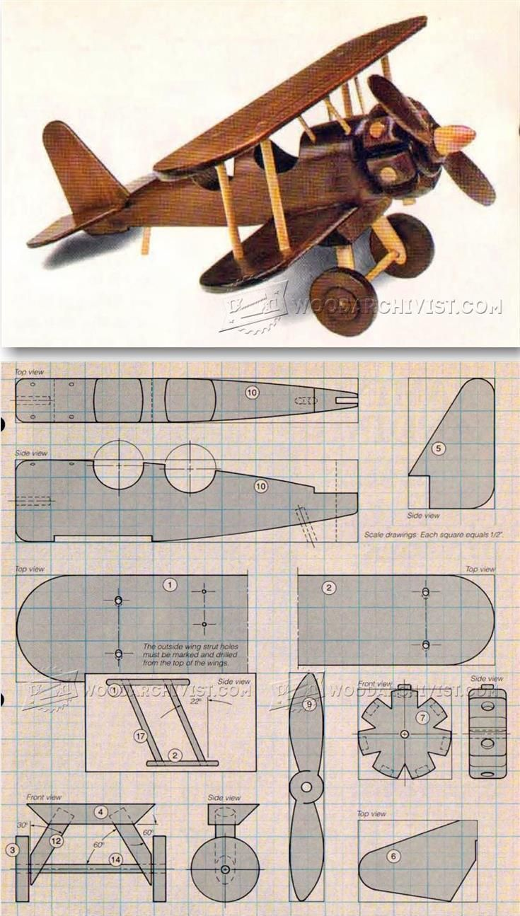 Wooden Airplane Plans - Children's Wooden Toy Plans and Projects | http://WoodArchivist.com