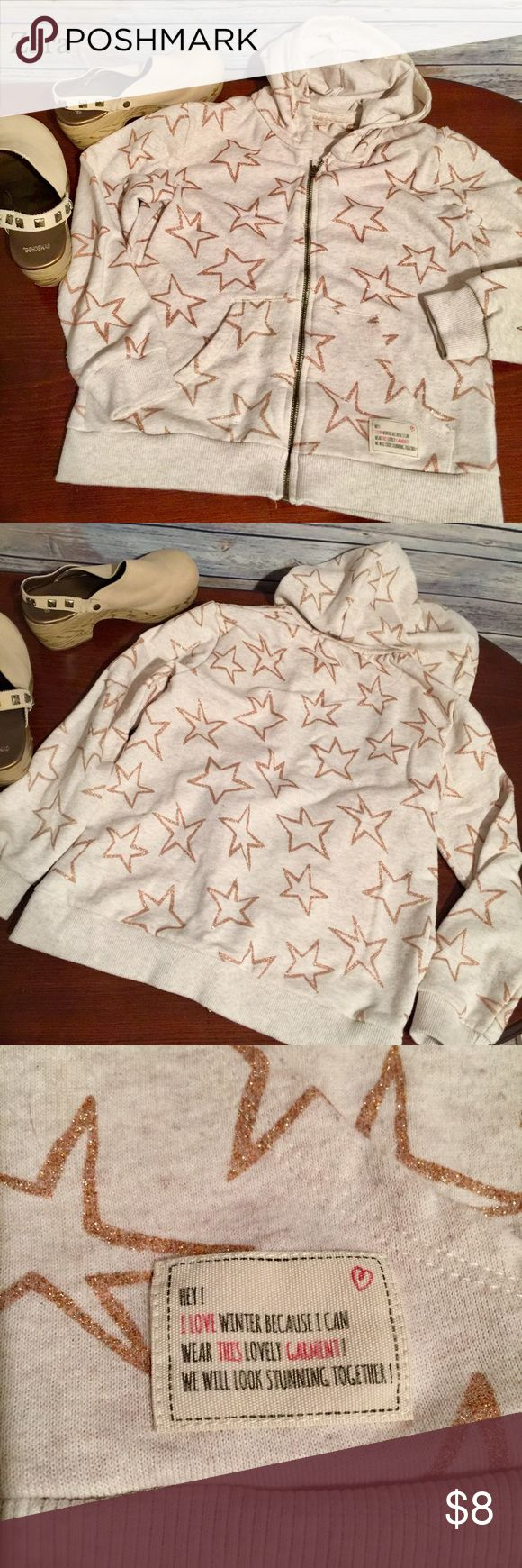 Zara Girl's Hoodie, Size 11/12 Super adorable zip hoodie from Zara Girls. Preloved condition with general wash wear. Cream color with gold sparkle stars that really add pop! 🌟Ready to make another little lady feel like a star! Please feel free to ask questions or bundle for the best savings. No trades. Immediate shipping. Thank you! ☺️ Zara Shirts & Tops Sweatshirts & Hoodies