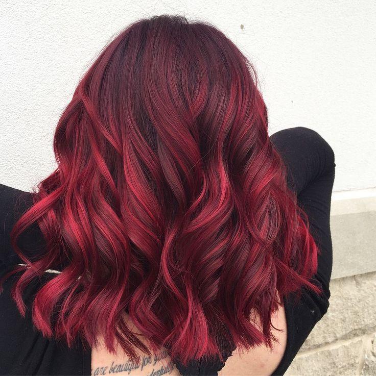"""Felicia Jean on Instagram: """"Ch-ch-ch-ch-ch-ch-ch-CHERRY BOMB! 🍒💣 @redken City Beats custom blend 👌🏻#redkenfallayage #redkenreds #salonatultabeauty  #ultabeautysalon…"""""""