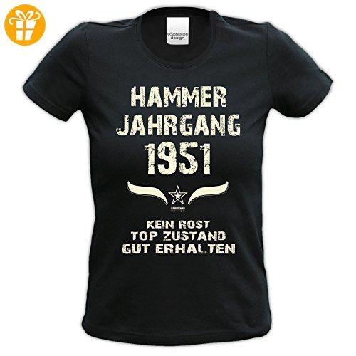 Damen-Kurzarm-T-Shirt Girlieshirt Geschenk-Idee zum 66. Hammer Jahrgang 1951 Geburtstag Geburtstagsgeschenk :-: Farbe: schwarz Gr: XL (*Partner-Link)