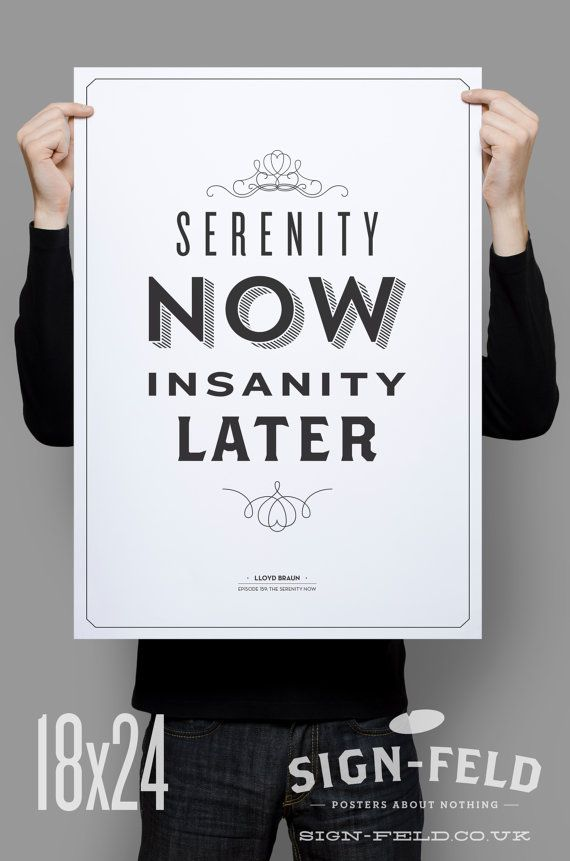 Serenity Now Poster 11x17  Seinfeld Quote Print  par Signfeld, $20.00