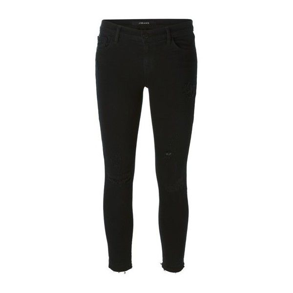 J BRAND Cropped Skinny Jeans ($275) ❤ liked on Polyvore featuring jeans, pants, black, black jeans, j-brand skinny jeans, j brand, j brand jeans and skinny fit jeans