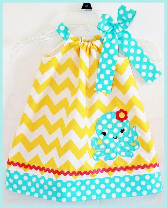 Super Cute Summer Chevron Octopus Applique dress Yellow and Aqua. $25.00, via Etsy.