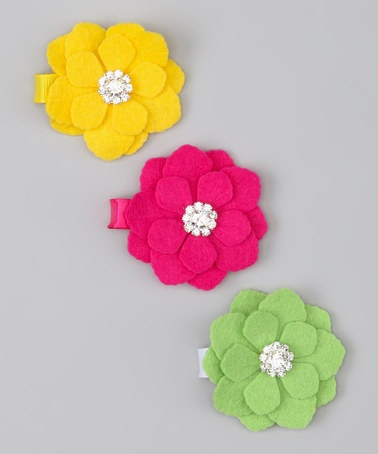 Take a look at this Yellow & Lime Flower Clip Set by Charlotte Rose Couture on #zulily today!
