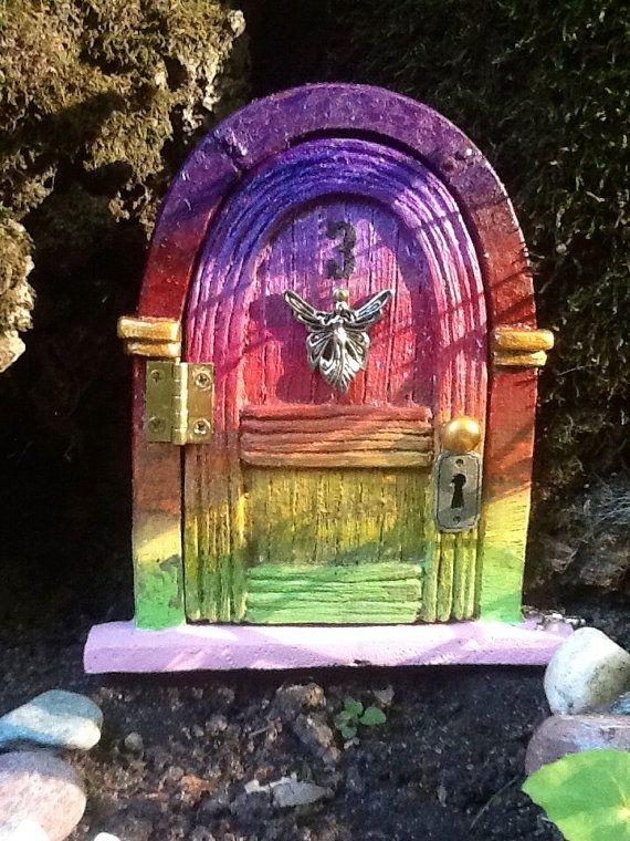 "Hinged 5 1/4"" Rainbowed Fairy door for the home or garden - rainbow"