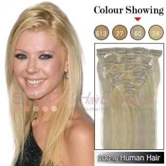 22 Inches 7pcs Clip-in Human Hair Extensions Straight (#60 Platium Blonde)