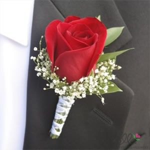 Groom's Red Rose and White Baby's Breath Flower Boutonniere but with pink rose