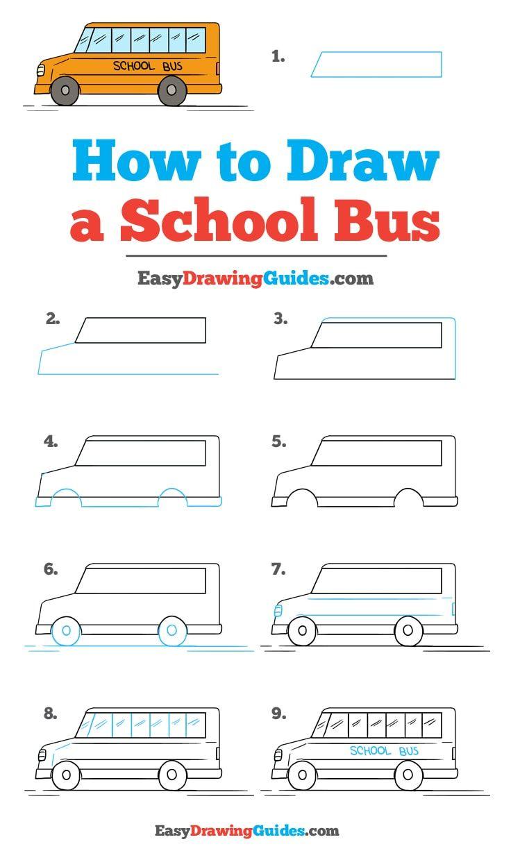 School Bus Drawing : school, drawing, School, Drawing, Tutorial, Drawing,
